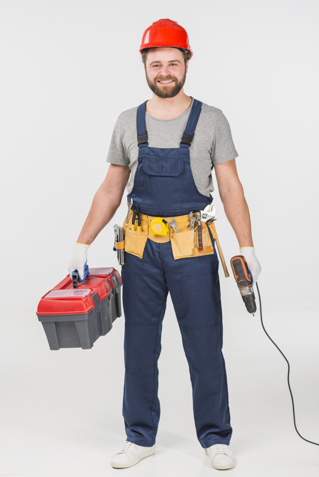 repairman standing with tool box drill 23 2148073218